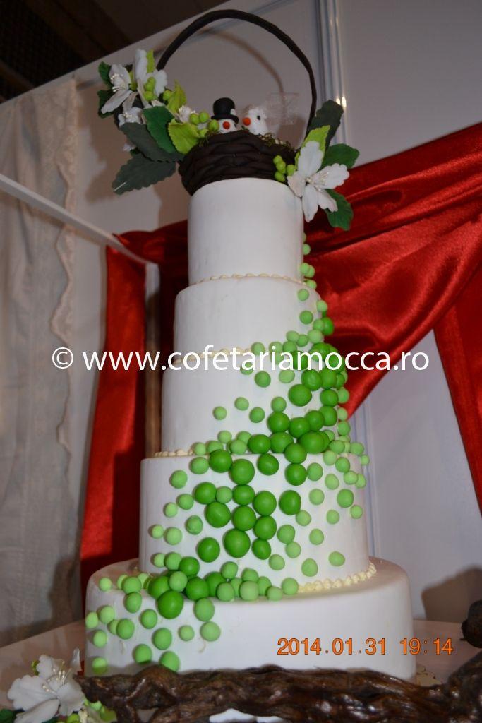 Tort De Nunta Cu Bilute Verzi Cod 092nm Cofetăria Sweet Mocca Oradea